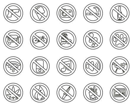 No Sign Or Forbidden Sign Icons Black & White Thin Line Set Big 일러스트