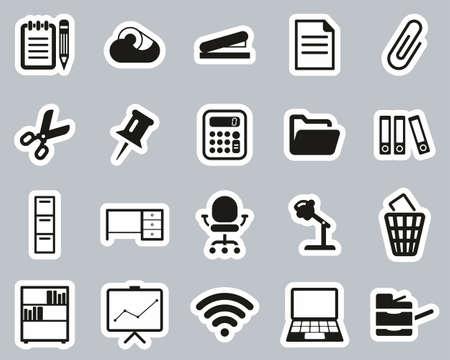 Office Supplies Icons Black & White Sticker Set Big