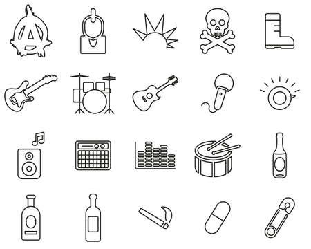 Ensemble d'icônes de la musique et de la culture punk noir et blanc Thin Line Set Big Vecteurs