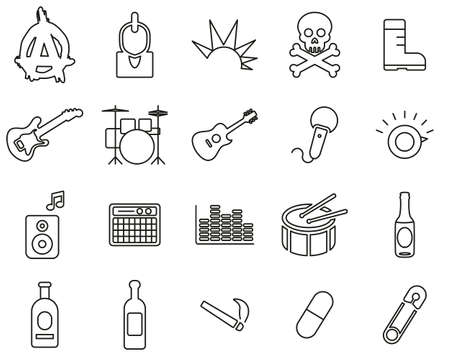 Punk Music & Culture Icons Black & White Thin Line Set Big