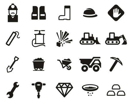 Quarry Or Mine Icons Black & White Set Big
