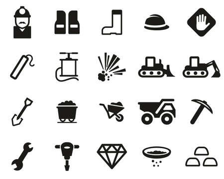Quarry Or Mine Icons Black & White Set Big