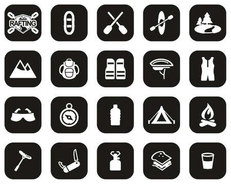Rafting Or White Water Rafting Icons White On Black Flat Design Set Big