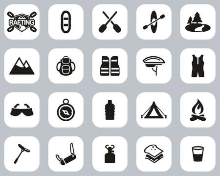 Rafting Or White Water Rafting Icons Black & White Flat Design Set Big