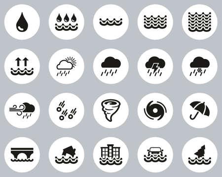 Rain & Flood Icons Black & White Flat Design Circle Set Big