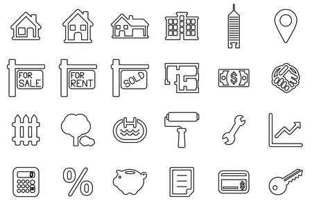 Real Estate Market Icons Black & White Thin Line Set Big