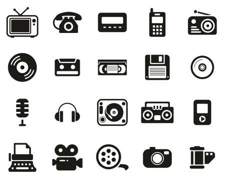 Ensemble d'icônes de la vieille technologie noir et blanc grand