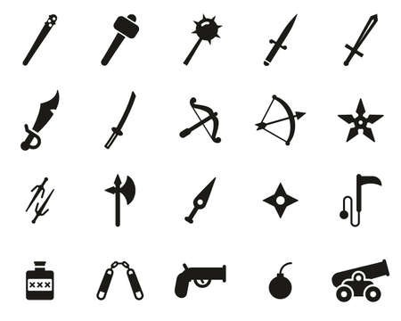 Old Weapons Or Ancient Weapons Icons Black & White Set Big