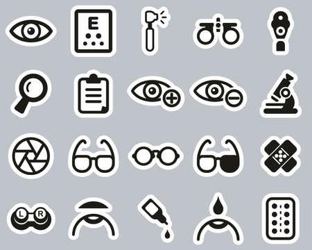 Optometry Exam & Optometry Equipment Icons Black & White Sticker Set Big Vettoriali