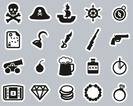 Pirate Icons Black & White Sticker Set Big