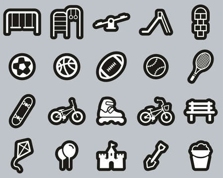 Playground Or Park Icons White On Black Sticker Set Big