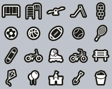 Playground Or Park Icons White On Black Sticker Set Big