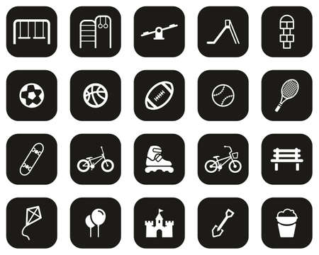Playground Or Park Icons White On Black Flat Design Set Big