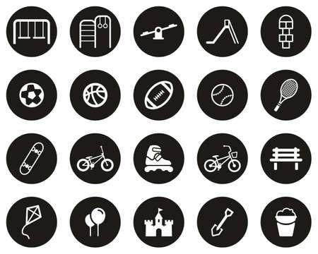 Playground Or Park Icons White On Black Flat Design Circle Set Big