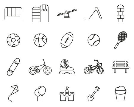 Playground Or Park Icons Black & White Thin Line Set Big
