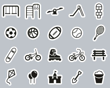Playground Or Park Icons Black & White Sticker Set Big
