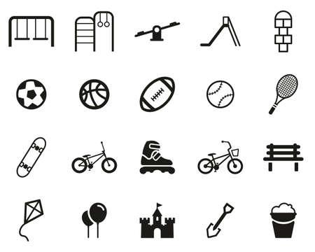 Playground Or Park Icons Black & White Set Big