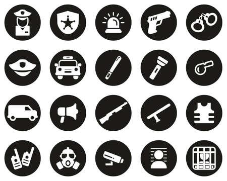 Police Or Police Force Icons White On Black Flat Design Circle Set Big Illustration