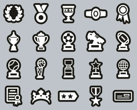 Prize Or Trophy Icons White On Black Sticker Set Big