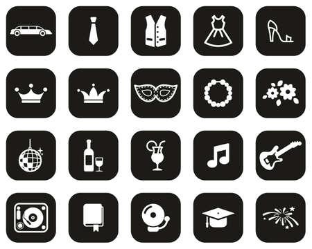 Prom Night Icons White On Black Flat Design Set Big