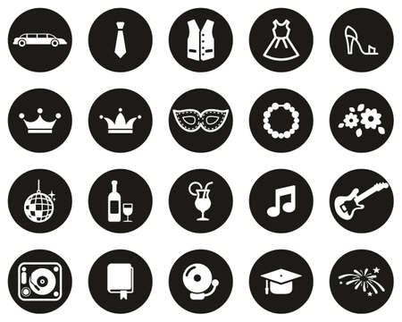 Prom Night Icons White On Black Flat Design Circle Set Big