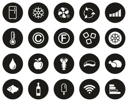 Refrigerator Or Cooler Icons White On Black Flat Design Circle Set Big