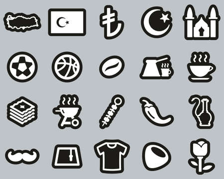 Republic Of Turkey Country & Culture Icons White On Black Sticker Set Big