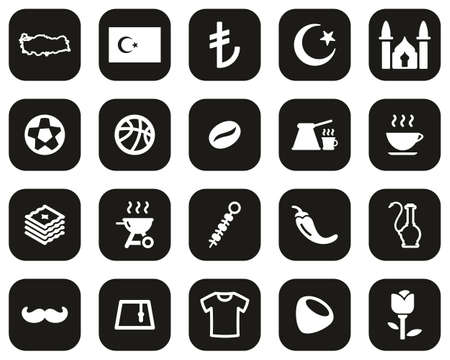 Republic Of Turkey Country & Culture Icons White On Black Flat Design Set Big