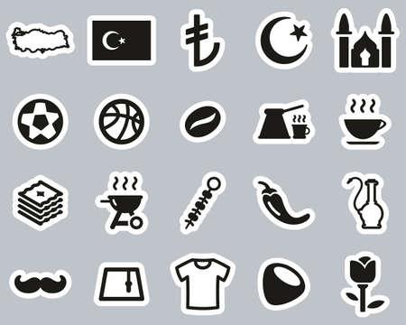 Republic Of Turkey Country & Culture Icons Black & White Sticker Set Big Vektorové ilustrace