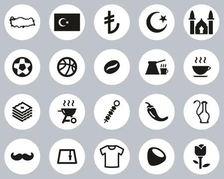 Republic Of Turkey Country & Culture Icons Black & White Flat Design Circle Set Big