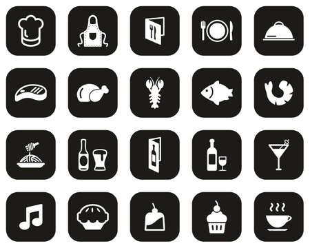 Restaurant Or Dinner Icons White On Black Flat Design Set Big Vectores