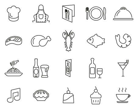 Restaurant Or Dinner Icons Black & White Thin Line Set Big Archivio Fotografico - 139823239