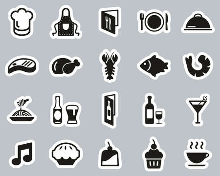 Restaurant Or Dinner Icons Black & White Sticker Set Big Vectores