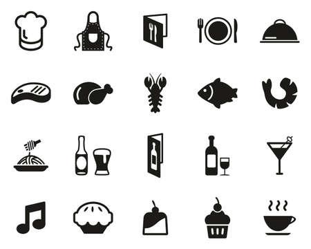 Restaurant Or Dinner Icons Black & White Set Big