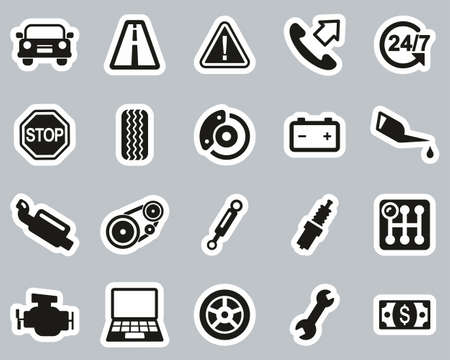 Road Assistance Service Icons Black & White Sticker Set Big