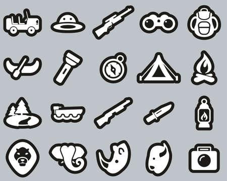 Safari Or Hunting Icons White On Black Sticker Set Big 向量圖像