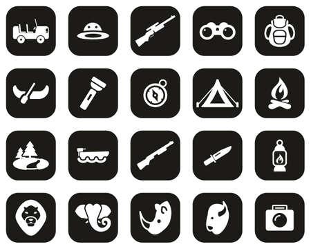 Safari Or Hunting Icons White On Black Flat Design Set Big