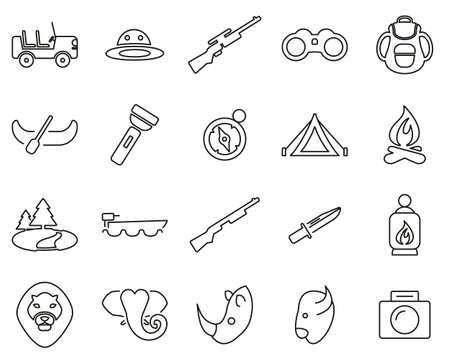 Safari Or Hunting Icons Black & White Thin Line Set Big