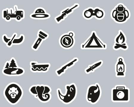 Safari Or Hunting Icons Black & White Sticker Set Big 向量圖像