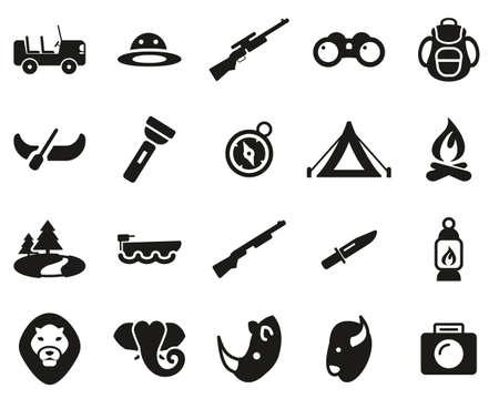 Safari Or Hunting Icons Black & White Set Big