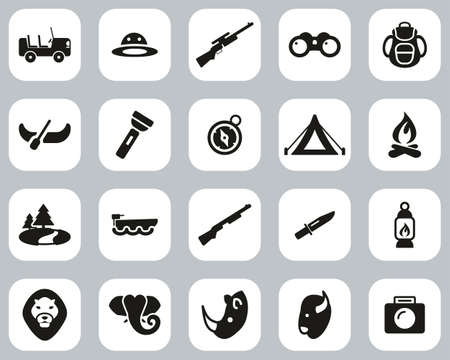 Safari Or Hunting Icons Black & White Flat Design Set Big 向量圖像