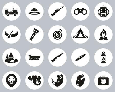 Safari Or Hunting Icons Black & White Flat Design Circle Set Big 向量圖像