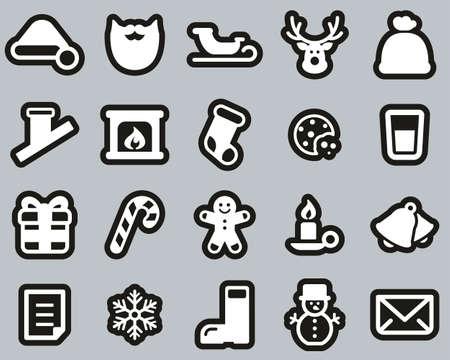 Santa Claus Icons White On Black Sticker Set Big 일러스트