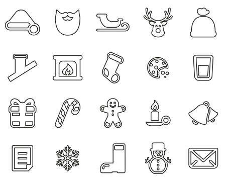 Santa Claus Icons Black & White Thin Line Set Big