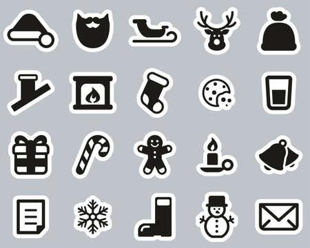 Santa Claus Icons Black & White Sticker Set Big 일러스트