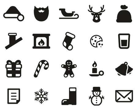 Santa Claus Icons Black & White Set Big