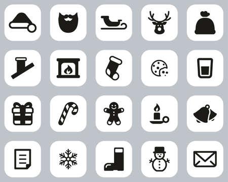 Santa Claus Icons Black & White Flat Design Set Big