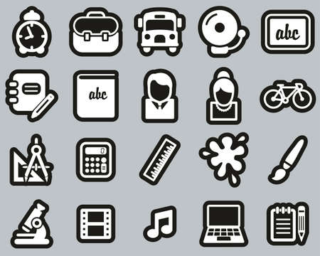 School Or Education Icons White On Black Sticker Set Big Stock Illustratie