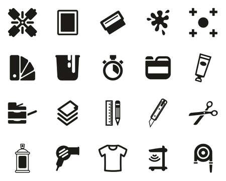 Screen Printing Icons Black & White Set Big