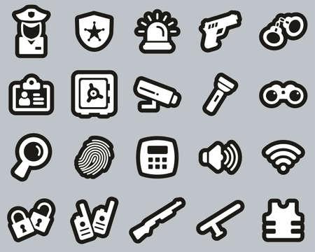 Security System & Equipment Icons White On Black Sticker Set Big 矢量图像